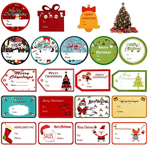 MerLerner 200 Pack Tags Sticker Christmas Gifts Labels Name Tags Xmas Gifts Santa Holiday Present Labels Self Adhesive (20 Designs,10 Sheets)