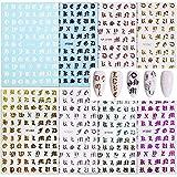 8 Feuilles Nails Autocollants Stickers Ongles Alphabet 3D Auto-Adhésives Décalques de Transfert Design Lettre Anglaises Autocollant Ongle Style Rétro Décoration DIY pour Femmes Filles 8 Couleurs