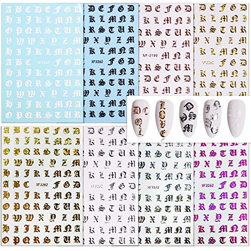 FLOFIA 8 Blätter Buchstaben Nagelsticker Selbstklebend Nagelaufkleber Nail Art Tipp Sticker Fingernägel Tattoo 3D Design Maniküre Decals Abziehbild DIY Dekoration