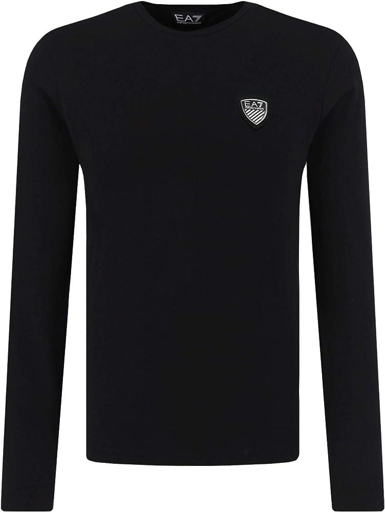 Emporio armani ea7 t-shirt , da uomo, girocollo, manica lunga,in 95% cotone, 5% elastan 8NPTL9