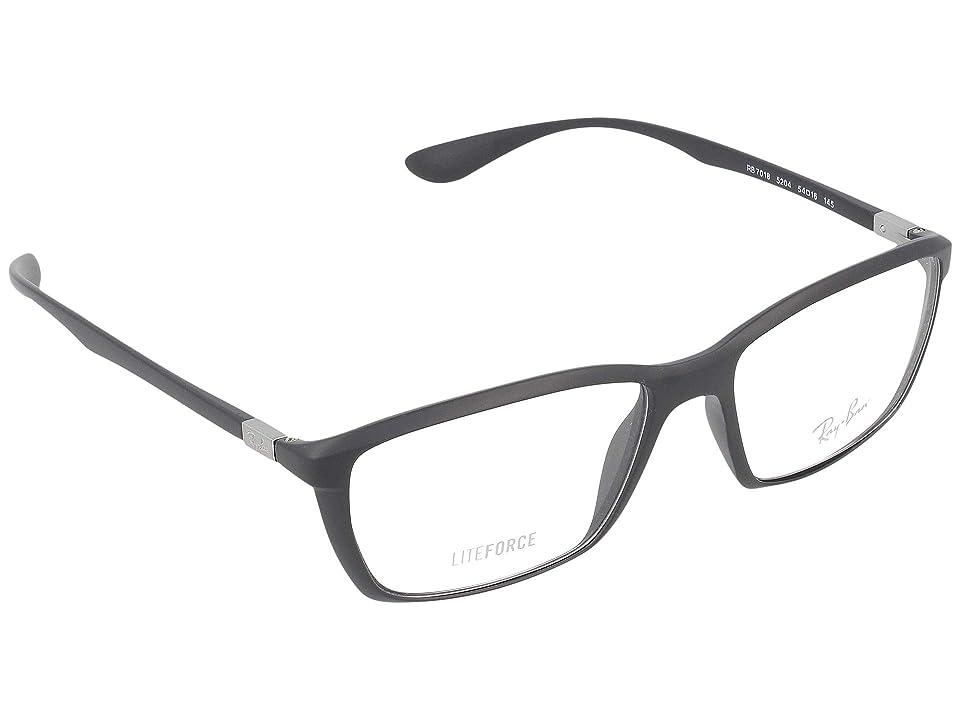 Ray-Ban 0RX7018 (Matte Dark Gray) Fashion Sunglasses