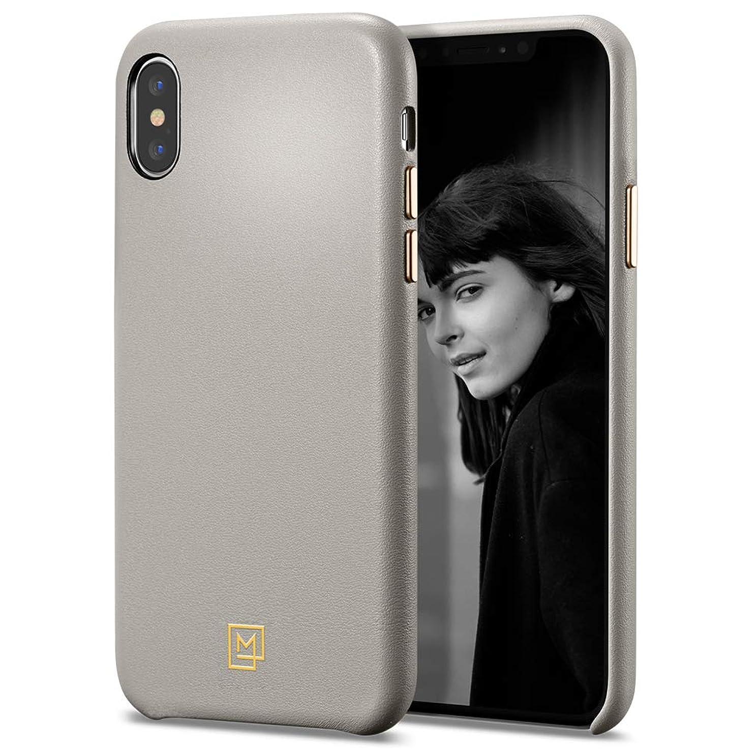 【Spigen x LA MANON】 iPhone XS ケース/iPhone X ケース 5.8インチ 対応 レザー シンプル デザイン 軽量 薄型 光沢 艶 指紋防止 傷防止 保護 ワイヤレス充電 カラン 063CS25322 (オートミール?ベージュ)