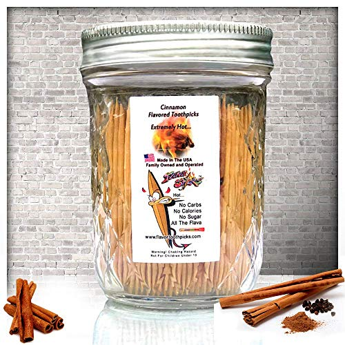 600 Cinnamon Flavor Natural Wooden Toothpicks in Glass Jar with Lid - Use to Quit Smoking and Freshen Breath After Food and Drink - an Alternative to Gum, Mints and Cigarettes