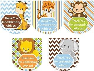 Mini Hand Sanitizer Labels Thank You Favor Stickers Boy Safari Animals Set of 90