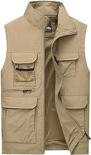 Vest Men's Thin vest Summer vest Outdoor Multi-Pocket vest Fishing vest Comfortable vest (Color : Khaki, Size : 5XL)