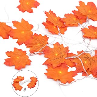 Unigift 2 Pack Fall Maple Leaves String Lights,20 LED Maple Leaves Fairy Lights USB Powered Autumn Decorations Lights for ...