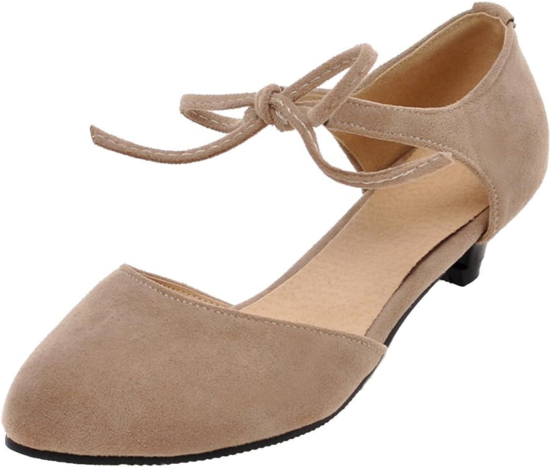 AIYOUMEI Women's Suede Kitten Heel Pumps Lace up shoes