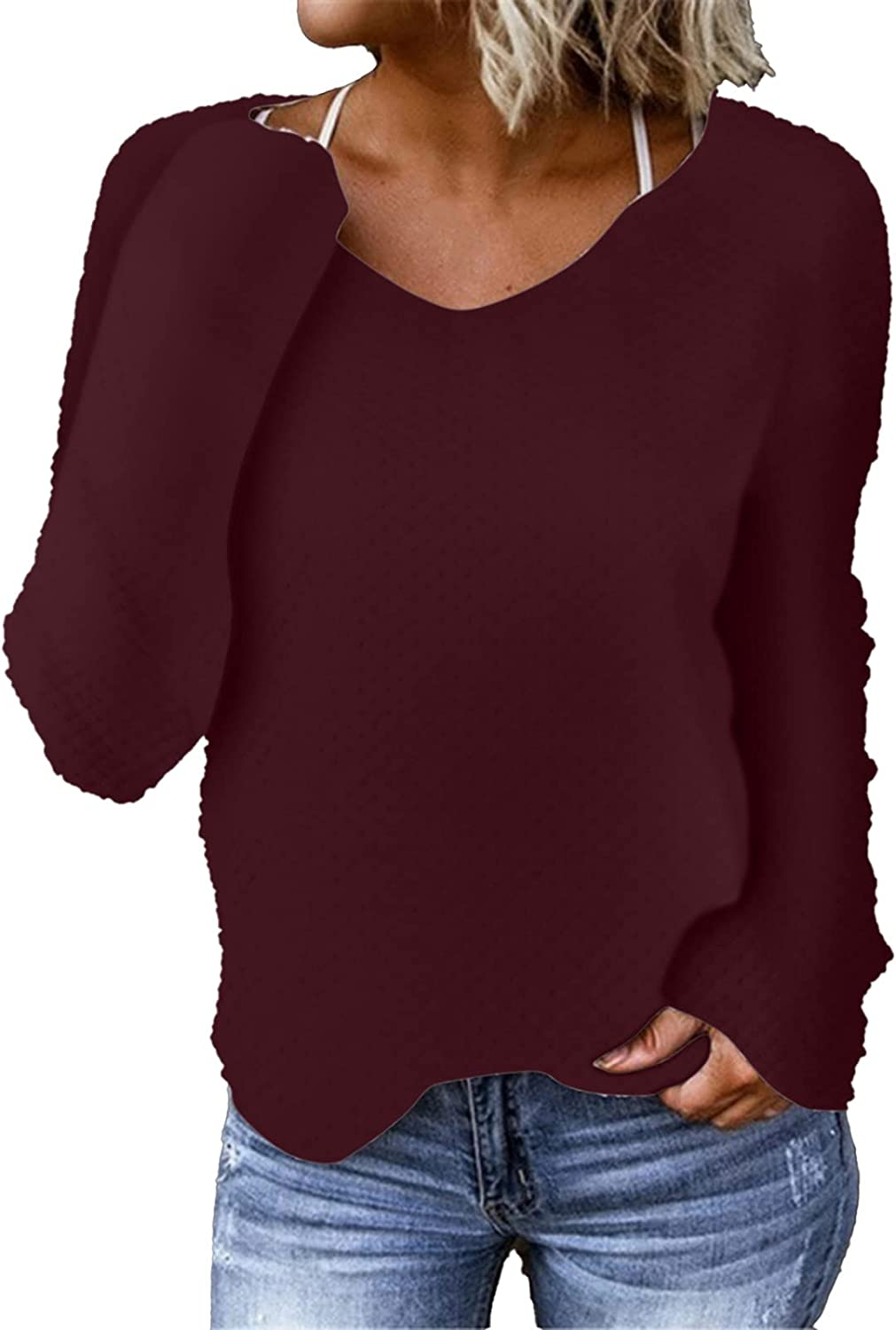Women's Solid Color Long-Sleeve Round Neck Pullover Tops Casual Warm Plush Sweater