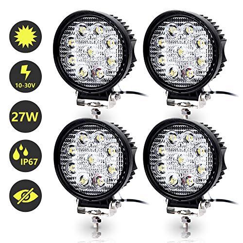 Hengda LED Arbeitsscheinwerfer, 4x 27W Scheinwerfer 12V 24V Rückfahrscheinwerfer Traktor LED Strahler für Offroad, KFZ, SUV, LKW, Auto Zusatzscheinwerfer IP67 Wasserdicht, Rund