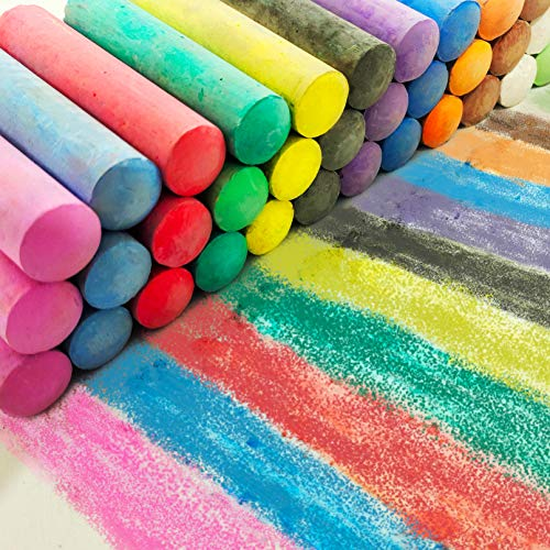 Sidewalk Chalk Bulk for Kids, 48 Pack 16 Colors Paint Jumbo Chalk Set for Toddlers Nontoxic Washable Outdoor Gifts
