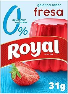 Royal Gelatina en Polvo Sabor Fresa con Vitamina C, 0% Azúcares - 10 Raciones, 31 g