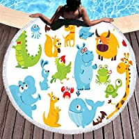 3D プリント漫画の動物マイクロファイバーラウンドビーチタオル大人の夏のタッセルヨガマット