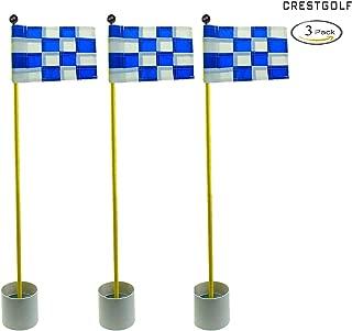 Crestgolf 3Sets Backyard Practice Golf Hole Pole Cup Flag Stick, 3 Section,Golf Putting Green Flagstick