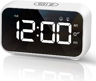 HOMVILLA Despertadores Digitales Reloj Despertador Digital Mini Reloj Digital Despertador Alarma de Espejo Portátil Al...