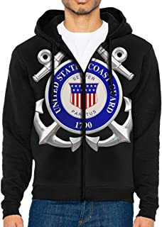 United States Coast Guard 1790 Men's Full-Zip Up Hoodie Jacket Pullover Sweatshirt
