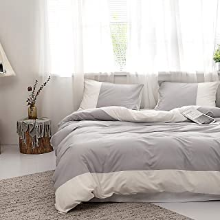 Grey White Stripe Duvet Cover King Geometric Stripe Bedding Set 100% Cotton Duvet Cover Modern Stripe Comforter Cover Luxu...