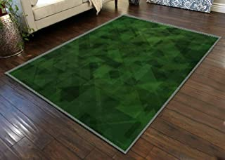 Area Rug Home Decor Baby Crawling Mats Non-Slip Pad Dark Green vector abstract polygonal abstract polygonal Geometric Bath...