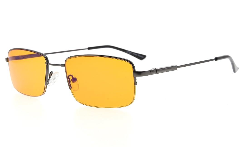 Eyekepper Computer Reading Glasses-Better Sleep Readers-97% Blue Light Blocking-Memory Titanium Half-Rim Men, Dark Orange Tinted Lens(Gunmetal, 1.50)