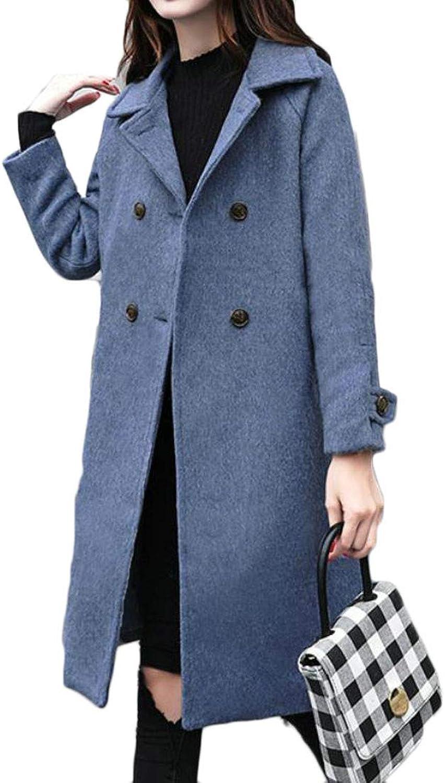 XTX Women Woolen Loose Fit Double Breasted Outwear Winter Warm Pea Coat