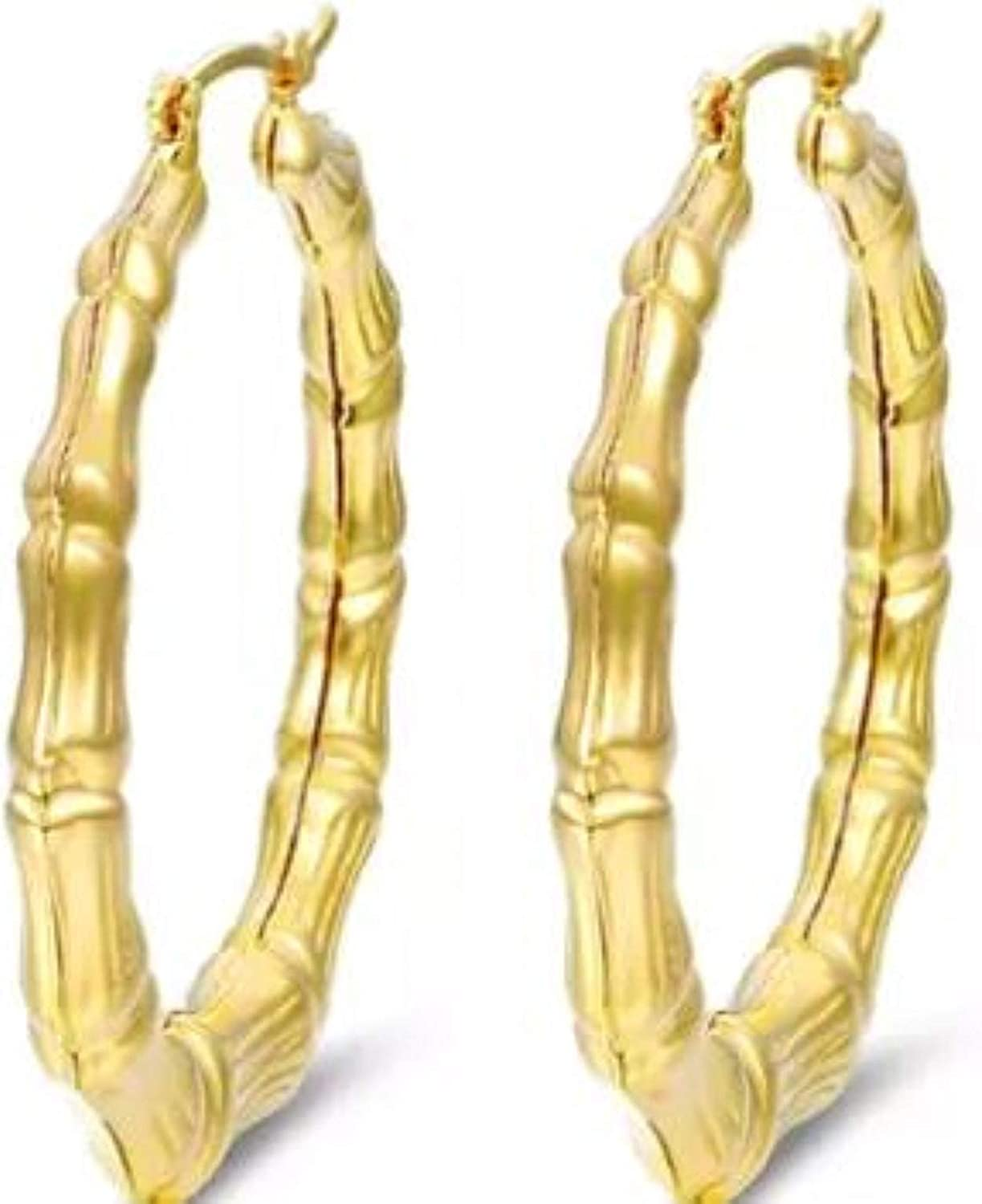 CLASSY MOOD Huge Bamboo Hoop Earrings 18K Gold Plated 6 inches outer Diameter 5 inches inner Diameter 125MM
