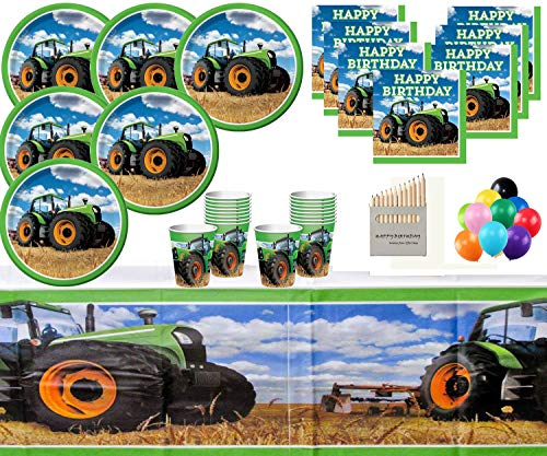 Tractor Time Birthday Party Supplies Vehicle Party Decorations for 16- Tractor Party Plates Cups Napkins Table Covers