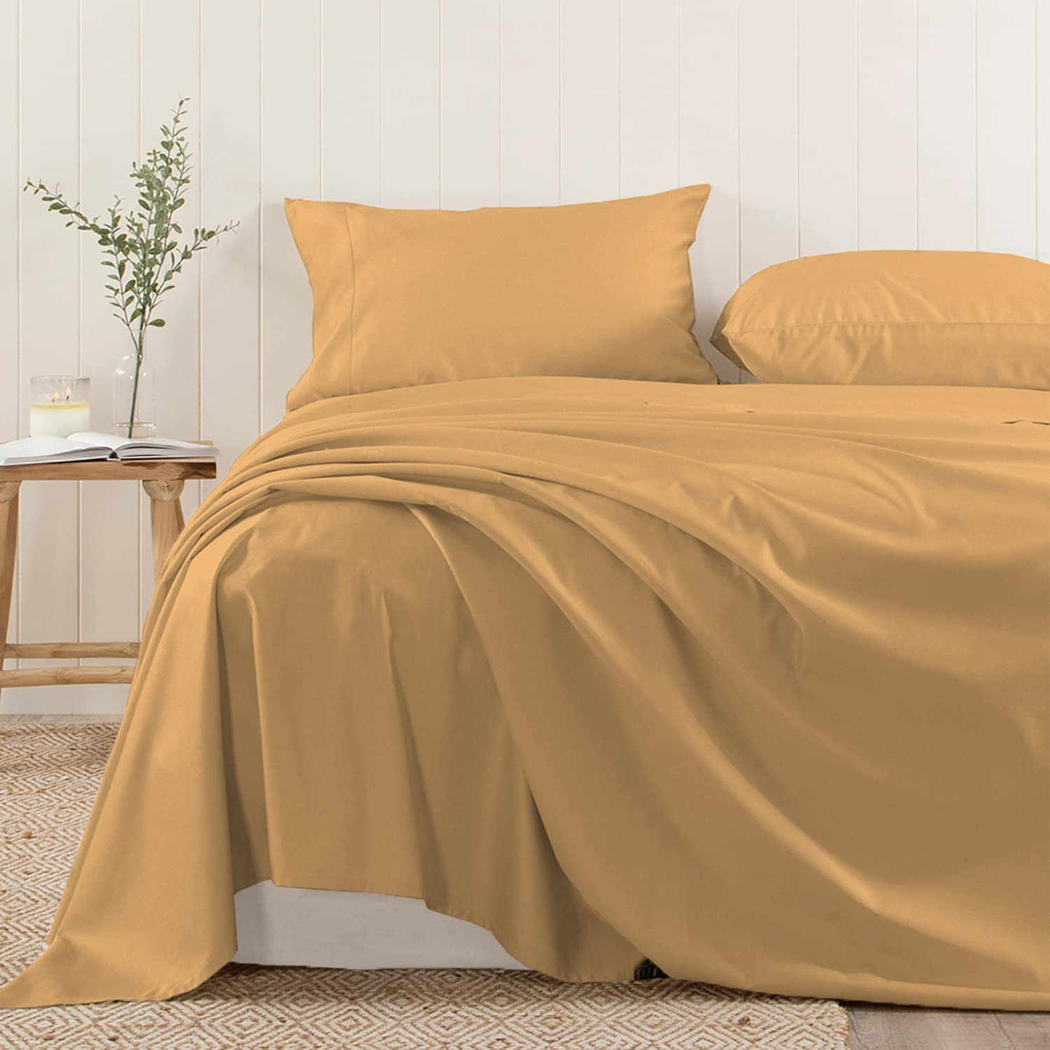 Pizuna Soft 400 Thread Count Cotton King Super beauty Excellence product restock quality top Yel Mustard Sheets Flat