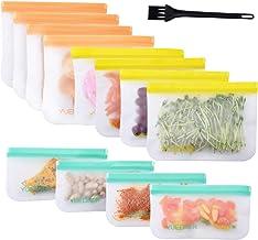 Yuedaer Reusable Food Storage Bags 12 Pack Reusable Zip Lock Bags Freezer Bag Safe for Snacks Sandwich Reusable Food Stora...