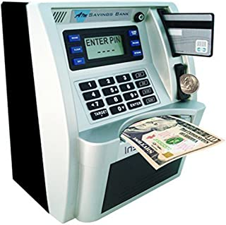 ATM Savings Bank,Personal ATM Cash Coin Money Savings Piggy Bank Silver/Black Machine for Kids