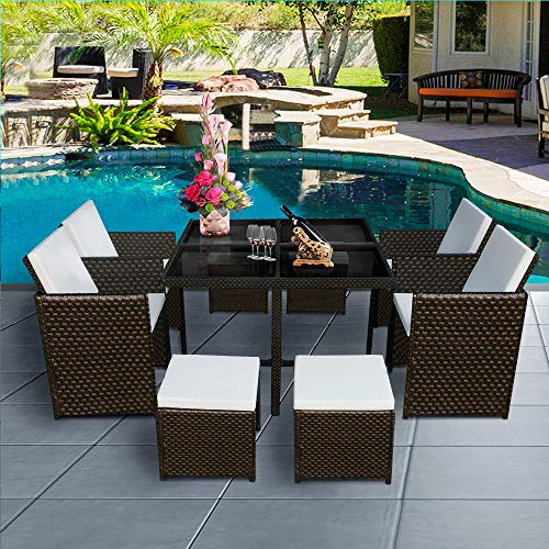 Panana 8 Seater Rattan Garden Furniture Set Dining Table and Chairs Stools Set Outdoor Patio and Conservatory (Brown Rattan with Beige Cushions)