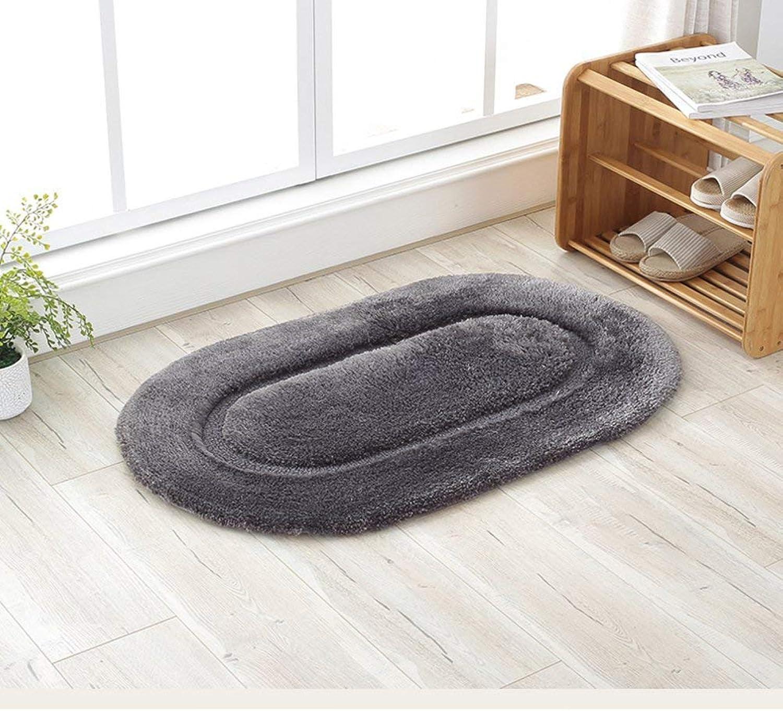 BDT Household Carpet Bathroom Mat, Oval Dark Brown Thick Carpet, Living Room Balcony Study Cushion