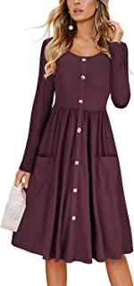 KILIG Women's Summer Sundress Spaghetti Strap Button Down Dress with Pockets