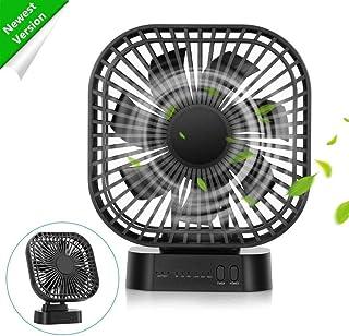 COMLIFE Ventilador USB de Mesa, Súper Silencioso, Batería Recargable 4000mAh, 3 Velocidades, Temporizador, Perfecto para Dormir, Estudiar, Trabajar, etc