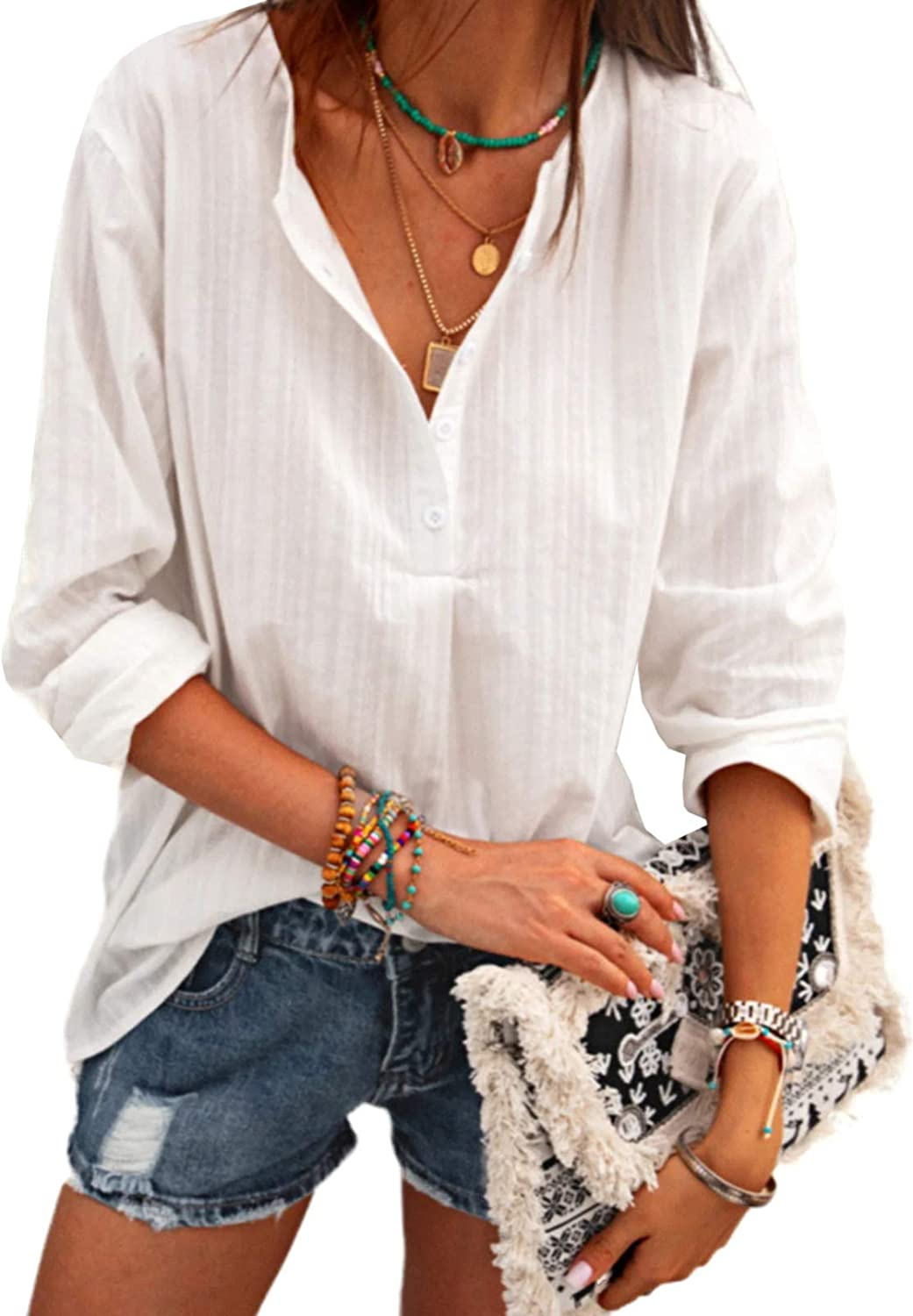 HOTAPEI Blouses for Women Casual V Neck Solid Color Fashion Work Long Sleeve Shirt Tops