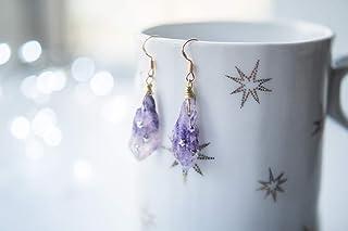 Orecchini viola, orecchini di pietra grezza, orecchini di cristallo viola, orecchini a stella, orecchini di pietre prezios...