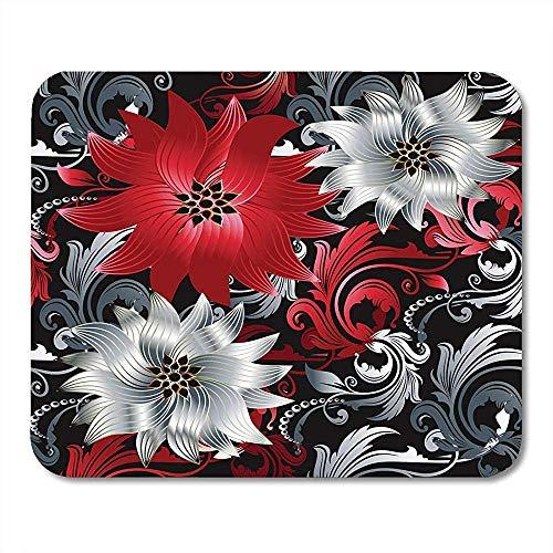 Mousepad Floral Barock Vintage Schöne Moderne Weiße Und Rote Blumen Strudel Blättern...