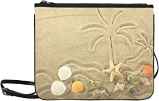 Island In The Ocean And Palm Trees Painted On The Pattern Custom High-grade Nylon Slim Clutch Bag Cross-body Bag Shoulder Bag