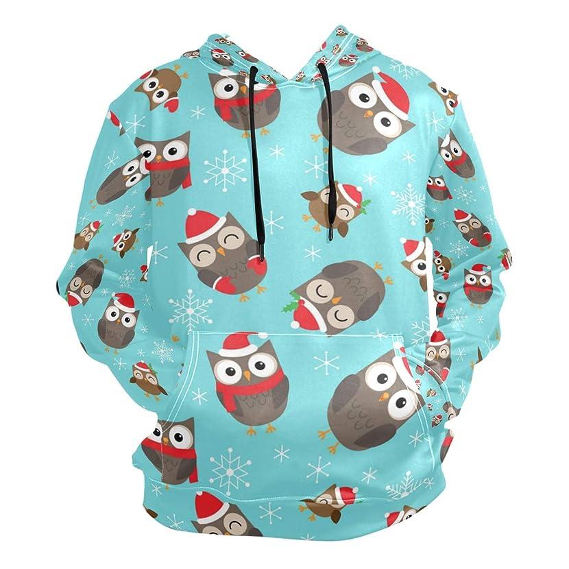 Owl Christmas and Snow Lightweight Slim Hooded Pullover Tops Sweatshirt