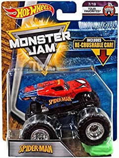 Hot Wheels Monster Jam 2018 Tour Favorites Spider-Man (with Re-Crushable Car) 1:64 Scale