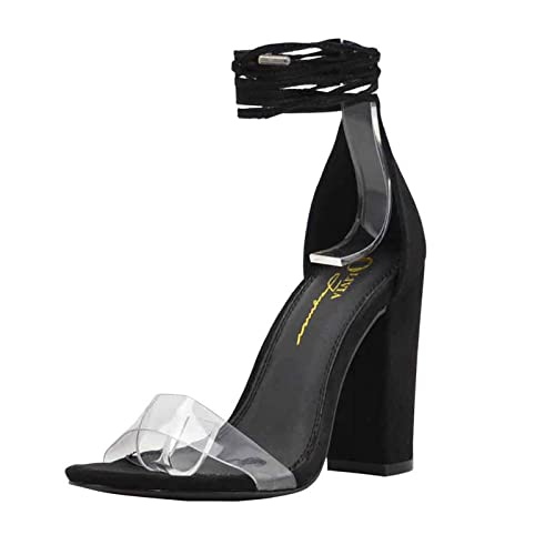8ae5b8d23e4 Black and Clear Heels: Amazon.com