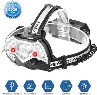 [Nuevo] Aerb linternas frontal recargable, 12000LM LED Luz cabezaalta potencia, 10 LED Súper Brillantes, 8 Modos de Brillo y IPX6 Impermeable para Casco, Pesca, Bicicleta, Camping y Caza