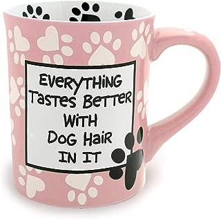"""Our Name is Mud """"Dog Hair"""" Stoneware Mug, Pink 16 oz."""