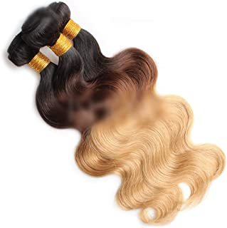 Hairpieces Hairpieces Fashian Wave Hair Bundles Natural Hair Extensions Weft - 1B/4/27# Blonde Three-Tones Color (100g/1 Bundle, 10 Inch-26 Inch) for Daily Use and Party