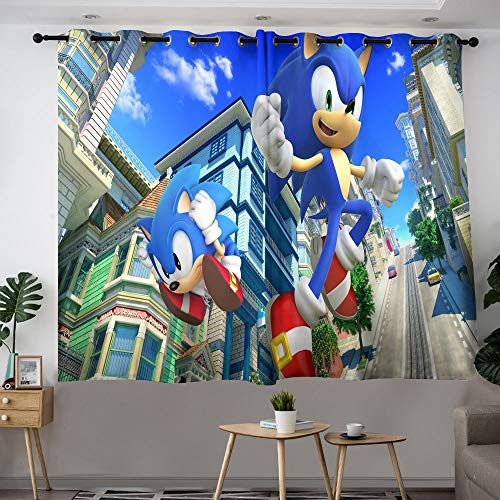 Sonic The Hedgehog Curtains for Kids Rooms, Blackout Curtains, Room Darkening Curtains for Bedroom W42 x L72