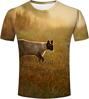 Men Cute Cat and Dog 3d Animal Printed Casual Summer Short Sleeve Novelty T-shirts