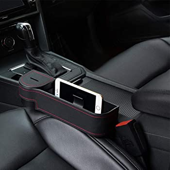 STEPIN Car Seat Gap Filler Multifunctional Car Seat Organizer with Cup Holder,Between Seat Car Organizer Not Fit Central Console Lower Than The Seat 2Pack,Black