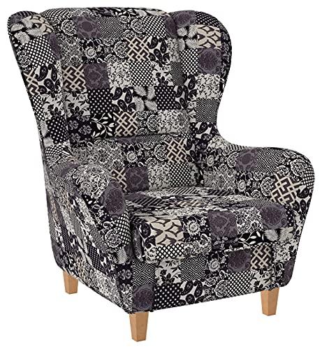 Supellex Ohrensessel »Sofia«, Design Patchwork, Floral, Ornamente, grau, beige (Design-Nr.: 5096), wahlweise mit Hocker