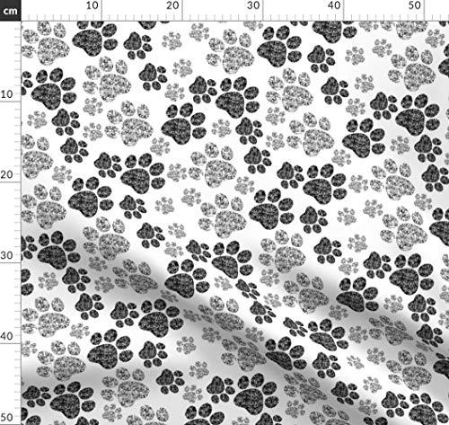 Schwarz Und Weiß, Tiere, Katzen, Pfotenabdrücke, Schwarze Katze, Pfoten, Stoffe - Individuell Bedruckt von Spoonflower - Design von Squeakyangel Gedruckt auf Baumwollstoff Klassik