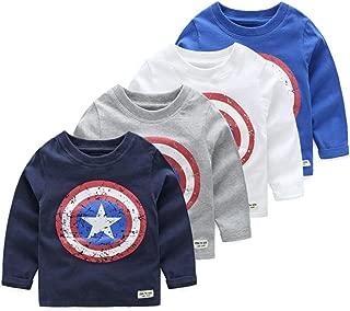 Autumn Baby Boys Long Sleeved T-Shirt Captain America Streetwear 100% Cotton Boys T Shirt 2-6year