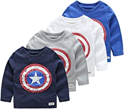 vinnytido Autumn Baby Boys Long Sleeved T-Shirt Captain America Streetwear 100% Cotton Boys T Shirt 2-6year