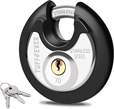 Tuff4ever 70mm Disc Padlock with Stainless Steel Shackle 2-3/4 Heavy Duty Round Outdoor Lock Black Rubber Bumper with 3 Keys